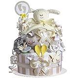 MomsStory - Windeltorte neutral   Schaf   Baby-Geschenk zur Geburt Taufe Babyshower   2 Stöckig (Beige) Baby-Boy & Baby-Girl (Unisex) mit Spielzeug Schnuffeltuch Schnuller & mehr