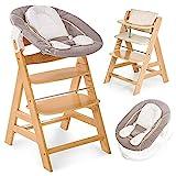 Hauck Alpha Newborn Set - Baby Holz Hochstuhl ab Geburt mit Liegefunktion inkl. Aufsatz für Neugeborene und Hochstuhlauflage, mitwachsend, höhenverstellbar - Natur Beige