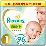Pampers Premium Protection Windeln, Gr. 1, 2-5kg, Halbmonatsbox (1 x 96 Windeln), Pampers Weichster...
