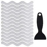 QINREN 36 Stücke Anti Rutsch Streifen Aufkleber mit Schaber für Badewanne Dusche Treppen, S-Form Transparent Selbstklebend rutschfest Duschmatten Badewannenmatte