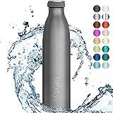 """720°DGREE Edelstahl Trinkflasche """"milkyBottle"""" - 750ml - BPA-Frei, Auslaufsicher, Kohlensäure..."""