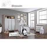 Babyzimmer Felix in akaziengrau 10 tlg. mit 3 türigem Kl. in Blossom Weiß/Grau