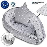 Babynest nestchen Baby Nest - babynestchen Kokon kuschelnest für Neugeborene GRAU SET mit Kissen Bett liegekissen 90 x 60 cm