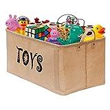 Gimars 22 Zoll große Spielzeugkiste, Faltbare Aufbewahrungskorb aus Jute, Aufbewahrungskiste ohne...
