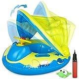 Gifort Baby Schwimmring Aufblasbarer, Baby Schwimmhilfe Schwimmen Boot Schwimmtrainer mit Einstellbar Sonnendach, Baby Float Urlaub Spielzeug für Kinder ab 12 bis 48 Monaten