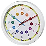 Hama Kinderwanduhr zum Lernen der Zeit (ohne Ticken, Lernziffernblatt mit Ø 30 cm, geräuscharme, analoge Wanduhr für Kinder, Lernuhr, Kinderuhr) weiß
