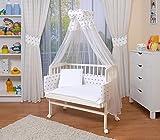 WALDIN Baby Beistellbett mit Matratze und Nestchen, höhen-verstellbar, 16 Modelle wählbar, Buche...