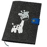 U-Hefthülle bestickt mit Giraffe aus Filz dunkelgrau/blau (Farbe wählbar) | Organizer Tasche für...