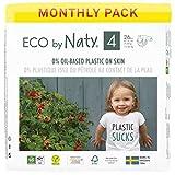Eco by Naty, Größe 4, 156 Windeln, 7–18 kg, MONATSVORRAT, pflanzliche Premium-Bio‑Windeln mit...