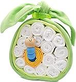 Windeltorte Apfel mit Greifwurm aus Holz perfekt als Windelgeschenk für die Babyparty als Geschenk zur Geburt oder Taufe für Jungen Geschenkfertig in Folie verpackt