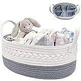 NXY Cute Baby Windel Caddy Organizer, großer Korb, 16,5 x 10,3 x 6,5 Zoll, hellgrau und weiß, 100%...