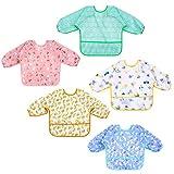 Lictin Baby Lätzchen 5 Stücke Lätzchen Baby Wasserdicht Ärmellätzchen , Lätzchen Baby mit Ärmel Baby Bibs Ärmel Lätzchen Set für 0-24 Monaten