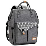 Baby Wickelrucksack Wickeltasche mit Wickelunterlage Multifunktional Große Kapazität Babytasche Reisetasche für Unterwegs, Grau