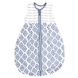 Emma & Noah Baby Sommer Schlafsack (1.0 Tog), 100% Baumwolle, ideal als Kugelschlafsack, Übergangsschlafsack, Babyschlafsack, Strampelsack, Raute Blau, 6-18 Monate / 90 cm