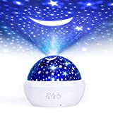Sternenhimmel Projektor Kinder, FISHOAKY 360°Drehen Nachtlicht Sternenhimmel Baby, 8 Farben, Ozeanwellen Films Nachtlicht Lampe für Baby, Geburtstage, Schlafzimmer (Weiß)