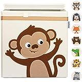GLÜCKSWOLKE Kinder Aufbewahrungsboxen - 15 Motive I Spielzeugkiste mit Deckel für Kinderzimmer I Spielzeug Box Affe (33x33x33) Aufbewahrung Kallax Regal I Dschungel Aufbewahrungsbox (Kiki Kletteraffe)