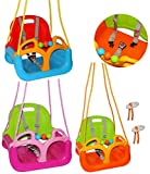 alles-meine.de GmbH Gitterschaukel / Babyschaukel - mitwachsend & umbaubar - mit Gurt -  ROSA / PINK  - Leichter Einstieg ! - belastbar 100 kg - Kinderschaukel ab 1 Jahre - mit..