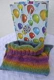Babypuck Pucksack mit Geschenktasche Schlafsack Konkon Puckschlafsack Strampelsack Baby bunt gestreift handgestrickt gestrickt