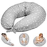 Stillkissen Schwangerschaftskissen zum Schlafen Seitenschläferkissen - Lagerungskissen für Baby XXL Pregnancy Pillow Oeko-Tex Grau