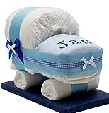 Windeltorte/Windelwagen blau für Jungen - mit besticktem Lätzchen/Das perfekte Geschenk zur Geburt oder Taufe