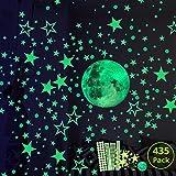 Hauserlin Wandsticker selbstklebend Leuchtsticker Wandtattoo,435 Leuchtsterne/Leuchtpunkte für...