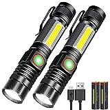 Karrong LED Taschenlampe Magnet Wiederaufladbare, Super Helle CREE Taschenlampen, Taktische USB Taschenlampe mit Zoom für Camping, Wandern und Notfälle (mit 18650 Batterie)