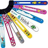 Notfall-Armband für Kinder von iQ-med | 6er Set, wasserfest, mit jedem Kulli beschreibbar | wiederverwendbar (Mädchen)