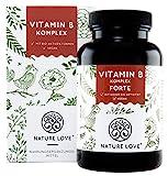 NATURE LOVE Vitamin B Komplex Forte - 180 Kapseln (6 Monate). Bis zu 10-fach höher dosiert als andere Vitamin B Komplexe. Premium: mit bio-aktiven Vitamin B Formen, dadurch hohe Bioverfügbarkeit