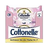 Cottonelle feuchtes Toilettenpapier, sensitiv Pflegend - Parfümfrei, biologisch Abbaubar, wiederverschließbar, Vorteilspack, 12 x 44 Tücher