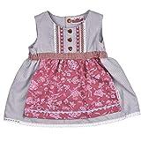 Dirndl Kleidchen, Süßer Einteiler, Angenähte Schürze, 100% Baumwolle, Farbe Grau Rosa, Tracht für fesche Mädchen in Größe 86/92