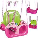 alles-meine.de GmbH Gitterschaukel _ Modell + Farbwahl _ Schaukel - mitwachsend & umbaubar - Babyschaukel - mit Gurt - ROSA / PINK - Leichter Einstieg ! - belastbar 100 kg - Kind..