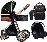 WDCC Kinderwagen für Neugeborene, Kinderwagen 3 in 1, Luxus Kinderwagen mit Mama Tasche, Kinderwagen Kinderwagen, High View Baby Trolley Autositz Kinderwagen (Farbe : Schwarz)
