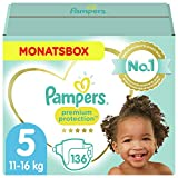 Pampers Baby Windeln Größe 5 (11-16kg) Premium Protection, 136 Stück, MONATSBOX, Pampers...
