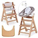 Hauck Beta Plus Newborn Set Deluxe - Baby Holz Hochstuhl ab Geburt mit Liegefunktion - inkl. Aufsatz für Neugeborene, Sitzpolster, Tisch - mitwachsend, verstellbar - Natur