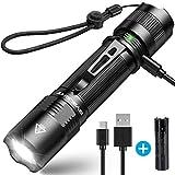 1000 Lumen BYBLIGHT F18 Taktische LED Taschenlampe, USB AUFLADBAR, IP67 Wasserdicht, HOCHLEISTUNG CREE XPG2 S3 Chip, 5 Licht-Modi mit Memory Funktion, Professionelle Hochwertige usb Wiederaufladbar