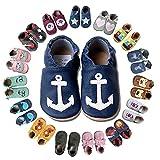 HOBEA-Germany Krabbelschuhe für Jungs und Mädchen in verschiedenen Designs, Kinderhausschuhe Jungen, Lederschuhe, Schuhgröße:22/23 (18-24 Monate), Modell Schuhe:Anker auf dunkelblau