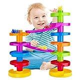 WEofferwhatYOUwant Mehrfarbige Murmelbahn Kugelbahn mit Brücke für Fortgeschrittene. Pädagogisch wertvoller Spaß für Baby und Kleinkind.