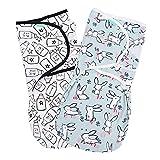 Lekebaby Baby Pucksack Neugeboren - 2er Pack Universal Verstellbare Schlafsack Decke für Säuglinge Babys Neugeborene 3-6 Monate Unisex, 1.0 TOG
