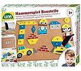 Lena 65828 Hammerspiel, Nagelspiel mit 64 bunten 8 Baustellen Teilen, Grundplatte aus Kork ca. 28 x...
