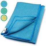 ELEXACLEAN Mikrofaser Trockentuch, Premium Waffeltuch (2 Stück, 60x40 cm, Blau) superweiche...