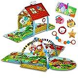 Lionelo Agnes 2in1 Krabbeldecke für Baby Spielmatte Baby 2 Spielbögen Spielhaus Stoffbuch Spielzeuge bunte Rasselkette verstärkter Boden kontrastreiche Farben