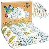 Superweiche Bambus Mullwindeln Spucktücher Baby Mulltücher Junge von Tabalino   80x80cm   4er-Pack   mit Gratis Schmusetuch   doppelt gewebt   Stoffwindeln Moltontücher   30% Baumwolle (Federn)