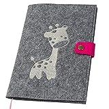 U-Hefthülle bestickt mit Giraffe aus Filz grau/pink (Farbe wählbar) | Organizer Tasche für Baby...
