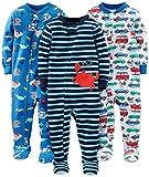 Simple Joys by Carter's Baby und Kleinkind Jungen Schlafanzug mit Fuß, Baumwolle, 3er-Pack ,Crab/Sea Creatures/Cars ,12 Months