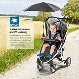 reer ShineSafe Sonnenschirm für Kinderwagen, universal nutzbar, dreh- und neigbar, schwarz