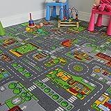 Kinder-Spielteppich Straßen-Matte Stadt Verkehr Straßen 140cm x 200cm (4ft7' x 6ft7')