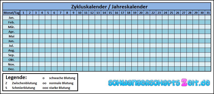 Zykluskalender zum Ausdrucken Jahreskalender