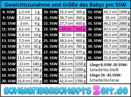 Tabelle - 23. SSW - Gewichtszunahme - Größe