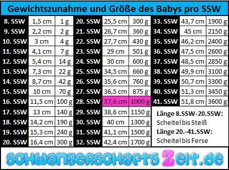 TabelleSSW 28 Gewichtszunahme Größe