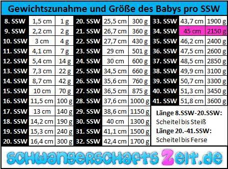 Tabelle - 34. SSW - Gewichtszunahme - Größe